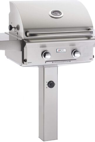 AOG American Outdoor Grill L-Series 24-Inch 2-Burner Propane Gas Grill On In-Ground Post - 24PGL-00SP