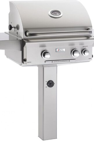 AOG American Outdoor Grill L-Series 24-Inch 2-Burner Propane Gas Grill On In-Ground Post with Rotisserie - 24PGL