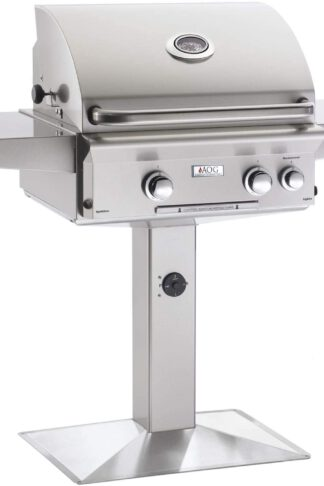 AOG American Outdoor Grill L-Series 24-Inch 2-Burner Propane Gas Grill On Pedestal with Rotisserie - 24PPL