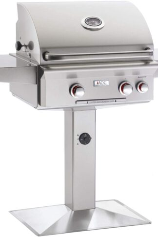AOG American Outdoor Grill T-Series 24-Inch 2-Burner Natural Gas Grill On Pedestal with Rotisserie - 24NPT