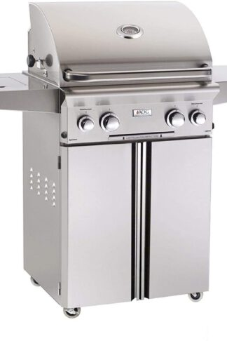 American Outdoor Grill 24NCL L-Series 24 inch Natural Gas Grill On Cart Side Burner Rotisserie Kit