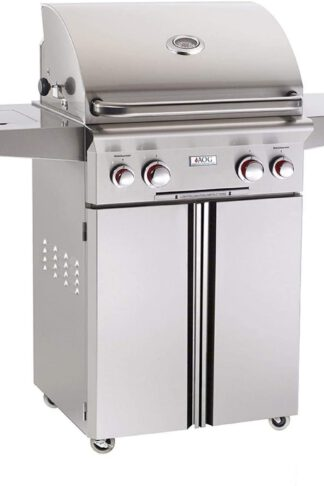 American Outdoor Grill 24NCT T-Series 24 Inch Natural Gas Grill On Cart with Side Burner and Rotisserie Kit