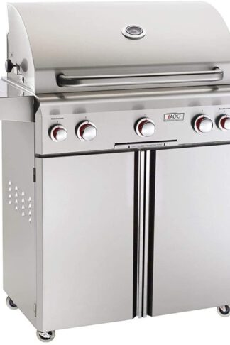 American Outdoor Grill 30NCT T-Series 30 inch Natural Gas Grill On Cart Side Burner Rotisserie Kit