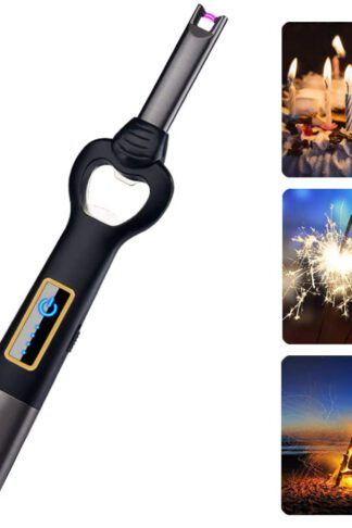 Arc Lighter USB Candle Lighter Flameless Rechargeable Electric Lighters Long Lighter Windproof Plasma Lighter with Bottle Opener and LED Flashlight for Candle, Gas Stove, Grill, BBQ, Cooking, Fireplace