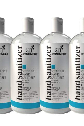 Artnaturals Hand Sanitizer Gel Alcohol Based (4 Pack x 8 Fl Oz / 220ml) Infused with Jojoba Oil, Alovera Gel & Vitamin E - Unscented Fragrance Free Sanitize by Artnaturals
