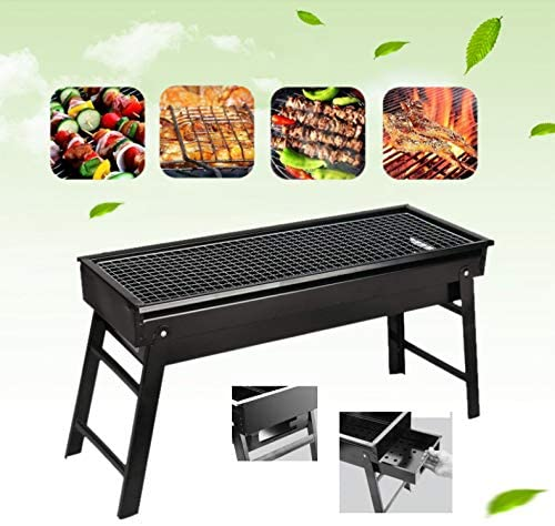 BBQ Grill, Portable BBQ Charcoal Grill Foldable BBQ Tool Kits, Charcoal Barbecue Grill Smoker Gril for Outdoor Cooking Camping Hiking Picnics