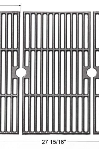 BBQ funland GI8763 Porcelain Coated Cast Iron Cooking Grid Replacement for Select Gas Grill Models by Charbroil, Kenmore, Master Chef and Others, Set of 3
