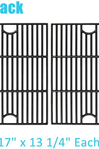 "BBQration 2-Pack 17"" x 13 1/4"" CIF119B Matte Cast Iron Cooking Grid Replacement for Gas Grill Model Kenmore, Nexgrill, Uniflame GBC091W and More"