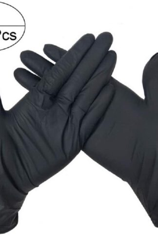 Box of 100 Nitrile Disposable Gloves, Powder Free, Latex Free, Food Grade Kitchen Gloves, Multi-Purpose Cleaning Gloves (Black, Small) by Supreme glory