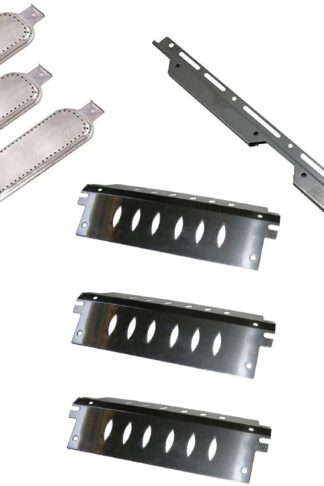 Broilmann 1pc Stainless Steel Burner Support Bracket, 3pc Stainless Steel Heat Plate, 3pc Stainless Steel Burners, Replacement Part Kit for Select Gas Grill Models by Charbroil, Kenmore and Others