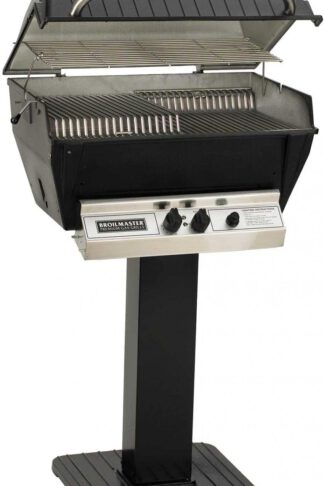 Broilmaster P3-XF Premium Propane Gas Grill On Black Patio Post
