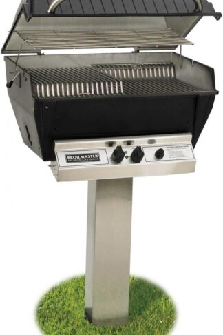 Broilmaster P3-XF Premium Propane Gas Grill On Stainless Steel In-Ground Post