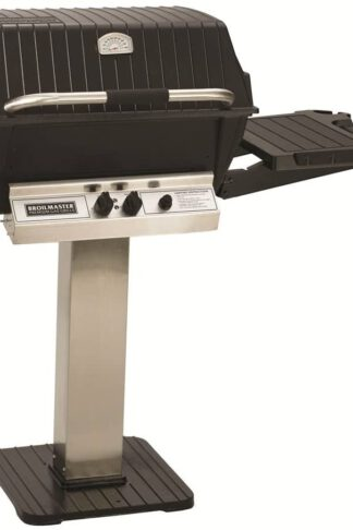 Broilmaster P3PK7N Grill Cart Package with P3 Natural Gas Grill Head 45 000 BTU Capacity Bowtie Burner Patio Post and Side Shelf in Stainless