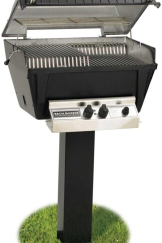 Broilmaster P4-XF Premium Propane Gas Grill On Black In-Ground Post