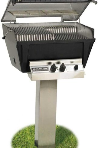 Broilmaster P4-XF Premium Propane Gas Grill On Stainless Steel In-Ground Post