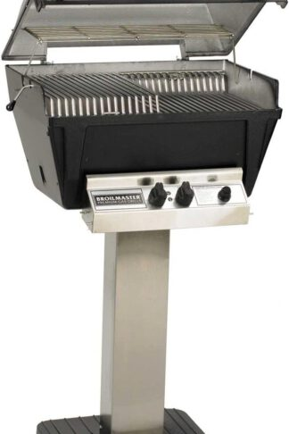 Broilmaster P4-XF Premium Propane Gas Grill On Stainless Steel Patio Post