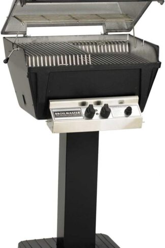 Broilmaster P4-XFN Premium Natural Gas Grill On Black Patio Post
