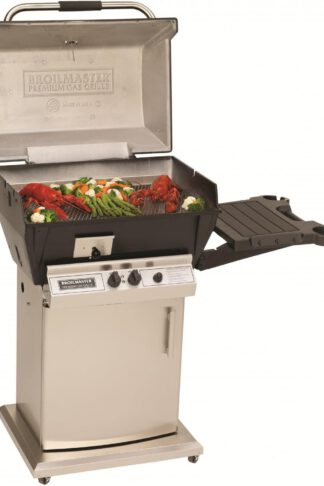 Broilmaster Q3X Qrave Natural Gas Grill On Stainless Steel Storage Cart