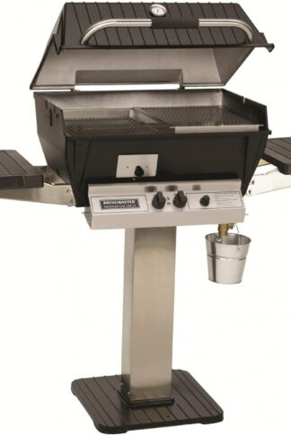 Broilmaster Q3X Qrave Propane Gas Grill On Stainless Steel Patio Post
