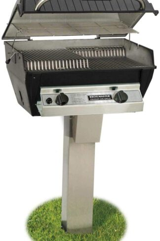 Broilmaster R3B Infrared Combination Propane Gas Grill On Stainless Steel In-Ground Post