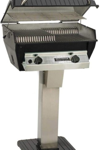 Broilmaster R3N Infrared Natural Gas Grill On Stainless Steel Patio Post