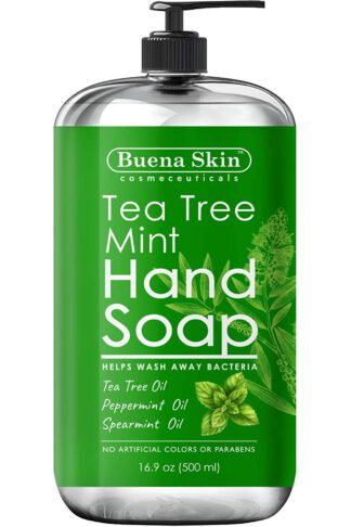 Buena Skin Tea Tree Mint Hand Soap - Liquid Hand Soap with Spearmint, Jojoba and Olive Oil - Multipurpose Liquid Soap in Pump Dispenser - Natural Bathroom Soap for Soft Skin - 16oz