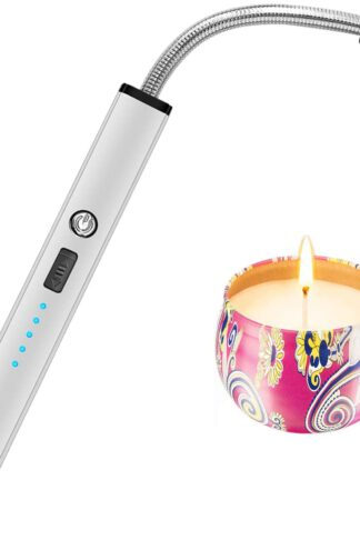 Candle Lighter, Electric Arc Lighter USB Rechargeable Long Lighters Wand Flexible for Candles Camping Cooking BBQs Grill Fireworks (Grey)