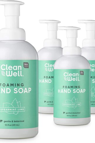 CleanWell Foaming Hand Soap, Spearmint Lime, 9.5 fl oz (4 PK) – Paraben Free, Alcohol Free, Plant-Based, Cruelty Free, Nontoxic, Kid Friendly, Pump Bottle (Packaging May Vary)