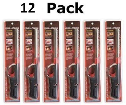 Click-n-Flame Refillable Long-Reach Butane Lighters (12 Pack)