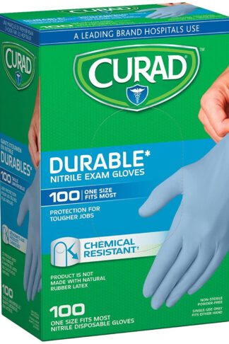 Curad Nitrile Disposable Exam Gloves, Durable and Chemical Resistant, Powder Free, One Size Fits Most (100 Count), Great for First aid, Medical use, Cleaning, pet Care by Curad