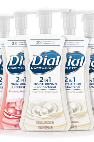 Dial Complete 2 In 1 Moisturizing & Antibacterial Foaming Hand Wash, Pearl Essence/Rose Oil, 5 Count