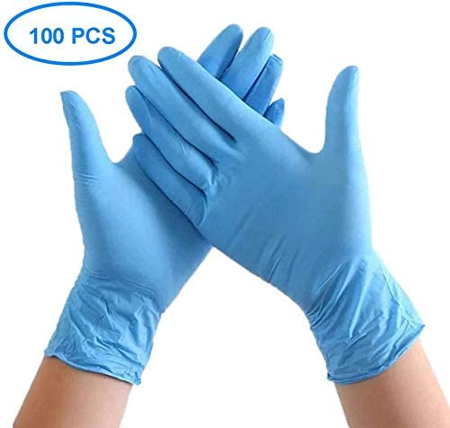 Disposable Gloves 100pcs Food Grade Nitrile Gloves for Kitchen Household Cleaning Use, Medium, Lake Blue by VEGELIN