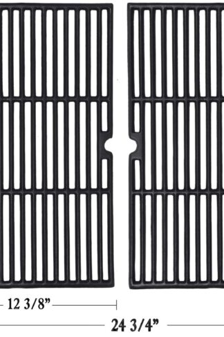 "GGC 19 1/4 Inch Grill Grate Replacement for Charmglow BBQ Grillware Kenmore Nexgrill Weber Jenn-Air Others, 2-Pack Porcelain Coated Cast Iron Cooking Grid (12 3/8"" x 19 1/4"" for Each)"