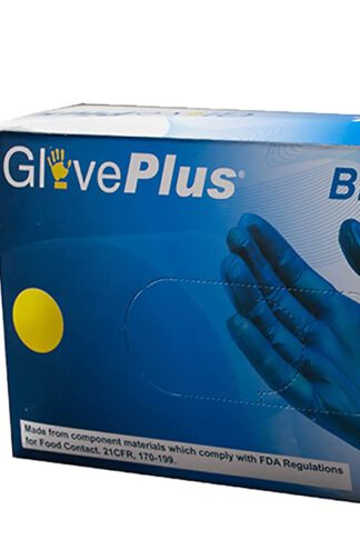 GlovePlus Industrial Blue Vinyl Gloves - 4 mil, Latex Free, Powder Free, Disposable, Non-Sterile, Food Safe, Medium, IVBPF44100-BX, Box of 100 by GLOVEPLUS