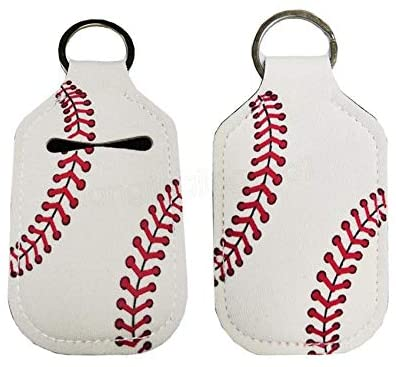 Hand Sanitizer Holder for Backpack Kids Travel Size Baseball Softball Keychain (Baseball, Pack of 2)