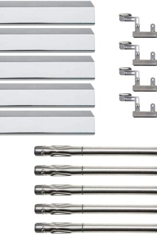 Hisencn Repair Kit Stainless Steel Grill Burner, Heat Plates, Crossover Tube for Brinkmann Brinkman Pro Series 5 Burner 810-1750-s, 810-1751-S, 810-3551-0 Gas Grill Parts Replacement