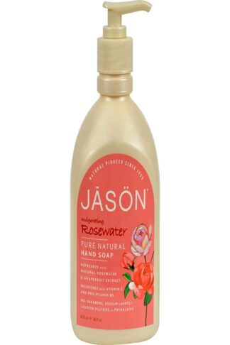 JASON Invigorating Rosewater Hand Soap, 16 oz., Packaging May Vary