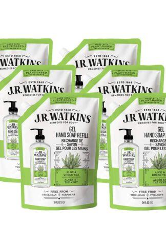 JR Watkins Gel Hand Soap Refill Pouch, Aloe and Green Tea, 6 Pack, Scented Liquid Hand Wash for Bathroom or Kitchen, USA Made and Cruelty Free, 34 fl oz