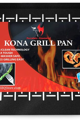 Kona Best Grill Tray - Heavy Duty BBQ Grilling Pan Will Never Warp & Porcelain Enameled for Easier Cleaning - BBQ Accessory for Fish, Vegetables, Kabobs - 16x12 x1 inch