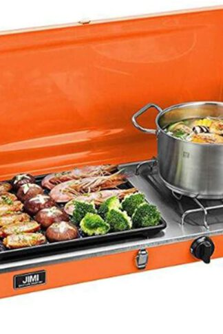 Liquid Propane BBQ Gas Grill, Barbecue Grill Outdoor Cooking Camping Stove Portable Stainless Steel, Orange