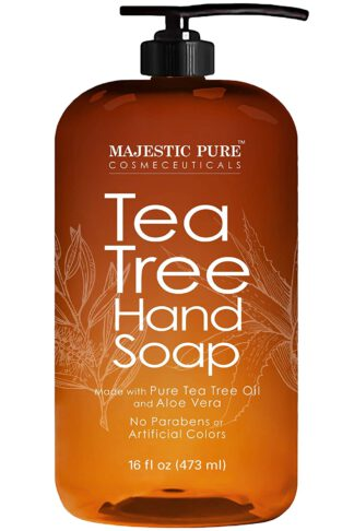 Majestic Pure Tea Tree Hand Soap - Liquid Hand Wash with Pure Aloe Vera, Rosemary & Spearmint - Hand Wash with Pump - Sulfate Free Formula -16 fl oz by Majestic Pure
