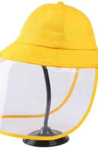 Mudley Full Face Shield Anti-saliva Protective Hat Safety Face Shields Adjustable Size Clean Water Wash 56-60cm Adults and 52-54cm children (Child, Yellow) by Mudley