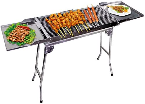 "Outdoor4less Stainless Steel Portable Travel Folding Tall Barbecue BBQ Charcoal Grill with Legs - Silver Chrome, Lightweight, Foldable - for Camping, Picnic, Outdoor - 44"" x 12'' x 28"""