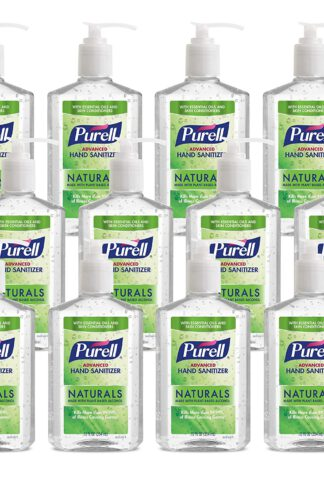 PURELL Naturals Advanced Hand Sanitizer Gel, with Skin Conditioners and Essential Oils, 12 fl oz Counter Top Pump Bottle (Case of 12) - 9629-12 by Purell