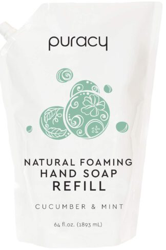 Puracy Natural Foaming Hand Soap Refill, Cucumber & Mint, Sulfate-Free Liquid Hand Wash, 64 Ounce