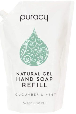 Puracy Natural Gel Hand Soap Refill, Cucumber & Mint, Moisturizing Liquid Hand Wash, 64 Ounce