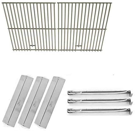 Repair Kit for Uniflame GBC983W-C, 3 Burner BBQ Gas Grill Includes 3 Stainless Steel Heat Plates, 3 Stainless Burners and Stainless Cooking Grids