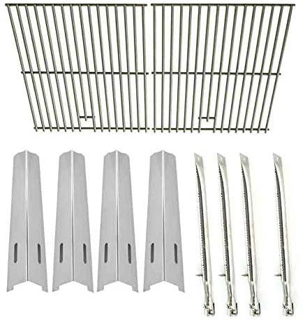 Replacement Kit For Bass Pro Shops BB10769A, North American Outdoors, Perfect Flame SLG2007B, 63033, SLG2007BN, 64876 & Broil Chef GSF2818KL Gas Models Includes 4 Burners, 4 Heat Plates & Steel Grates