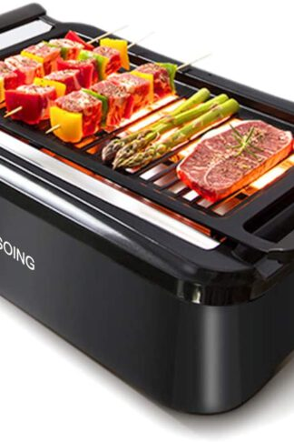 SOING, Advanced Smokeless Indoor Grill, Portable Electric Infrared Indoor Grill, Removable Plates, Dishwasher-Safe, 1 Year Warranty, Black