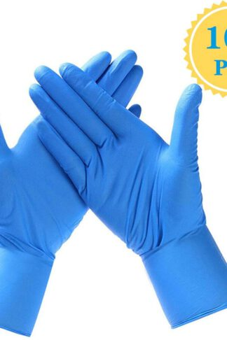 Safely Nitrile Disposable Gloves, Powder Free, Food Grade Gloves, Latex Free, 100 Pcs, Large Size, Blue by Enjoyee